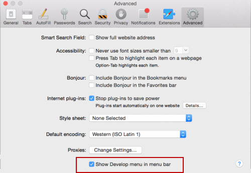 Safari 8 preferences advanced tab
