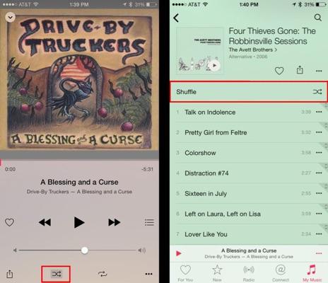 shuffle iPhone music app