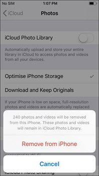 turn off icloud photo library