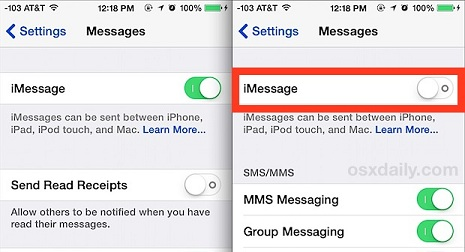 turn off iMessage on iPhone