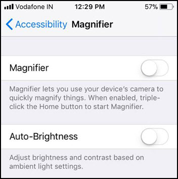 turn off magnifier iphone