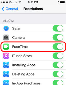 enable restriction facetime