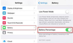 turn on battery percentage on iphone