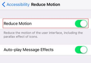 turn on reduce motion