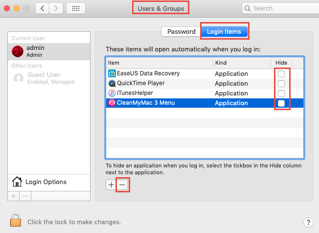 user&group settings on mac