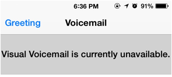 visual voicemail currently unavailable